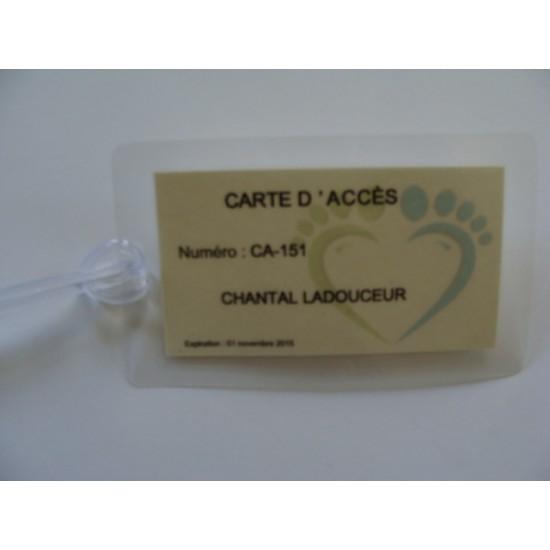 Carte d'accès personnalisée à votre nom (inscription)